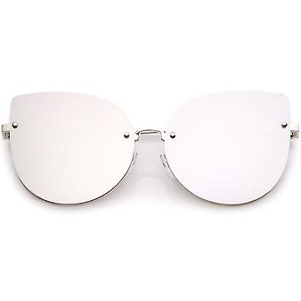 ecfe8a9a0ea2 Women's Oversize Rimless Cat Eye Sunglasses With Colored Mirror Flat Lens  61mm