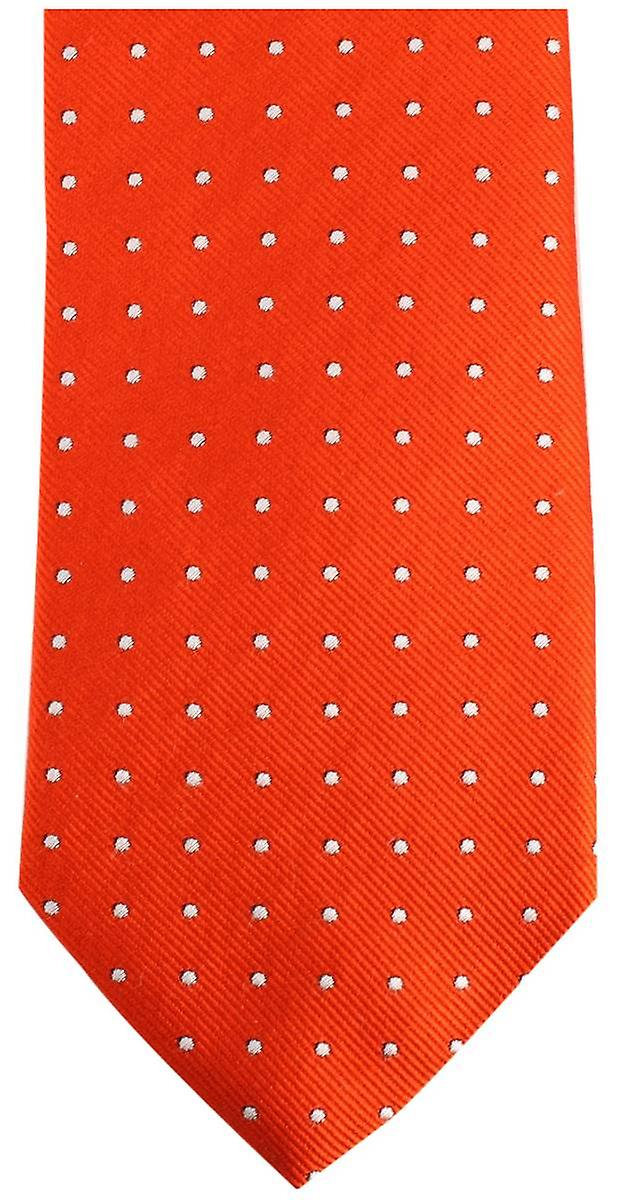 Bassin and Brown Medium Spot/Plain Silk Tie - Orange/Lilac