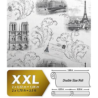 Romantic wallpaper EDEM 9050-10 non-woven wallpaper coined in the Shabby chic style Paris Eiffel Tower Notre Dame shimmering white grey anthracite, 65 m2