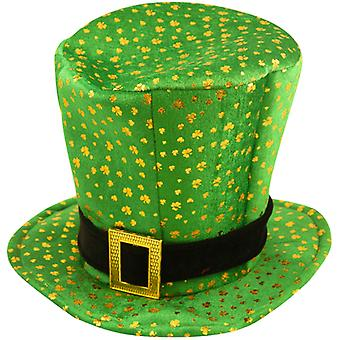 St Patrick Irish Top Hat With Buckle And Shamrock Design