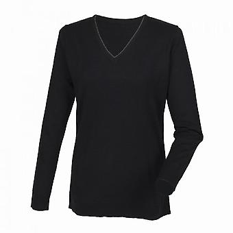 Henbury Womens Cashmere Touch Acrylic V-Neck Long Sleeve Jumper / Knitwear