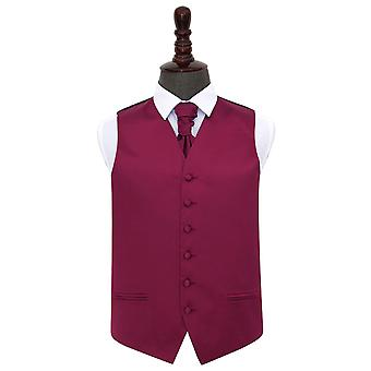 Burgundy Plain Satin Wedding Waistcoat & Cravat Set