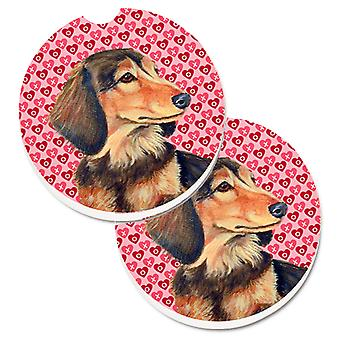 Dachshund Hearts Love and Valentine's Day Portrait Set of 2 Cup Holder Car Coast
