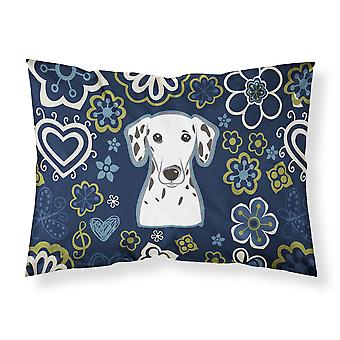 Blue Flowers Dalmatian Fabric Standard Pillowcase