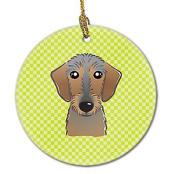 Checkerboard Lime Green Wirehaired Dachshund Ceramic Ornament