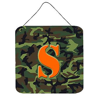 Letter S Initial Monogram - Camo Green Wall or Door Hanging Prints
