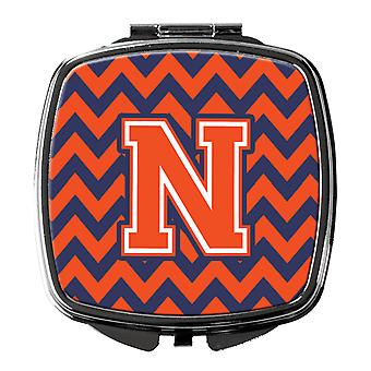 Carolines Treasures  CJ1042-NSCM Letter N Chevron Orange and Blue Compact Mirror