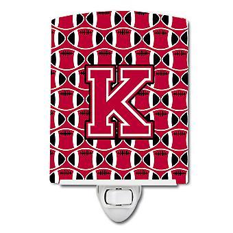 Letter K Football Crimson and White Ceramic Night Light