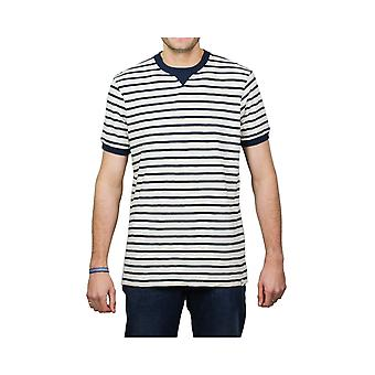 Edwin Jeans International Short-Sleeved Striped T-Shirt (Off White/Navy)