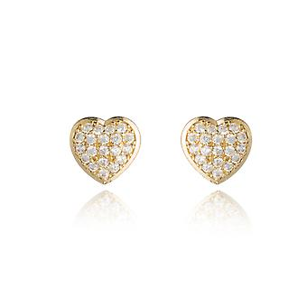 10k Yellow Gold CZ Cubic Zirconia Heart Earring