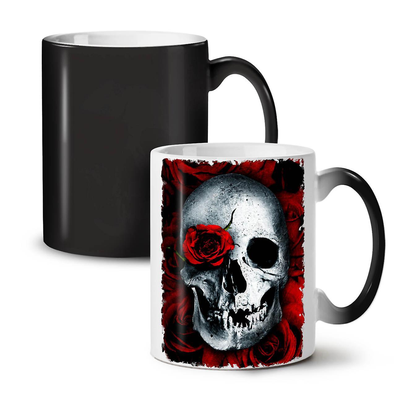 Thé Noir Couleur Rose Tasse Changeant De Café Nouvelle 11 OzWellcoda Crânes Céramique Fleur 2HIYWED9