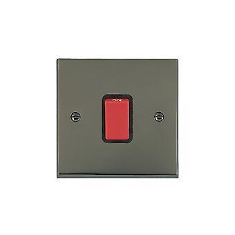 Hamilton Litestat Cheriton Victorian Black Nickel 1g 45A Double Pole Red Rkr/BL
