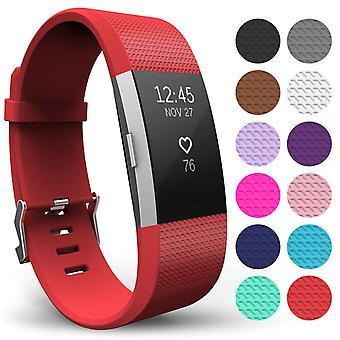 Yousave Fitbit carga 2 correa simple (grande) - rojo