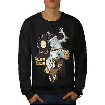 Play Nice Skate Fashion Men BlackSweatshirt | Wellcoda