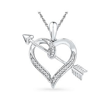 Bow and Arrow Heart Pendant Necklace in 10K White Gold with Accent Diamonds 1/12 Carat (ctw)