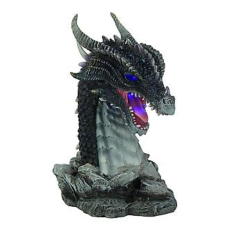 Hand Painted Obsidian Dragon Bust Statue With LED Lights