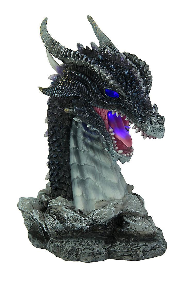 Hand Painted Statue buste de Dragon obsidienne avec LED