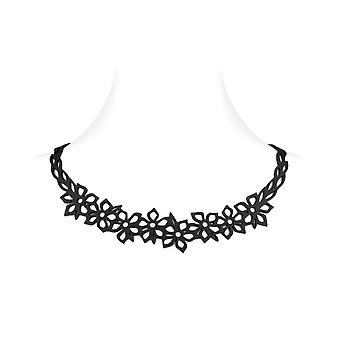 Necklace Silicone black effect tattoo flowers