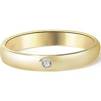 Bezel Solitaire Diamond Engagement Promise Gold Ring