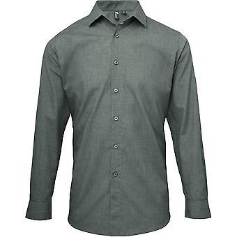 Premier Mens Poplin Cross-Dye Polycotton Roll Sleeve Corporate Shirt