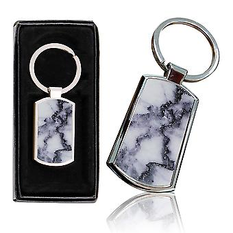 i-Tronixs - Premium Marble Design Chrome Metal Keyring with Free Gift Box (3-Pack) - 0028