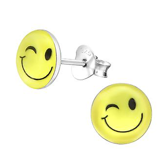 Wink Face - 925 Sterling Silver Colourful Ear Studs