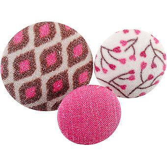 Fabricraft - Fabric Covered Buttons 8/Pkg-Pink Snake Skin