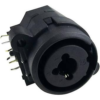 XLR connector Socket, horizontal mount Number of pins: 3 Black Cliff FC2410 1 pc(s)