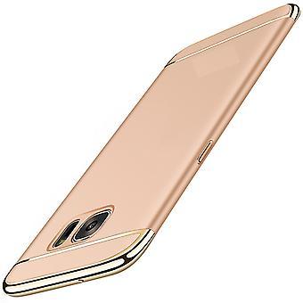 القضية تغطية الهاتف الخليوي سامسونج غالاكسي A8 2018 3 الوفير في 1 غطاء كروم الذهب القضية