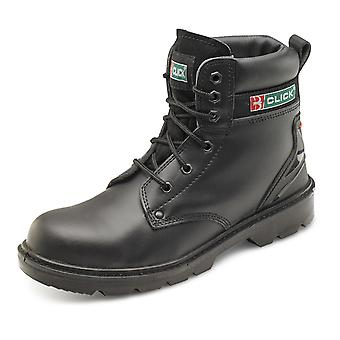 Click Smooth Leather 6 Eyelet Safety Boot With Midsole. Black. S1P Src - Cf2Bl