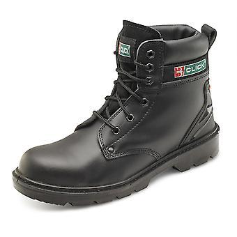Cuir lisse 6 œillet Safety Boot avec semelle intermédiaire en un clic. Noir. S1P Src - Cf2Bl