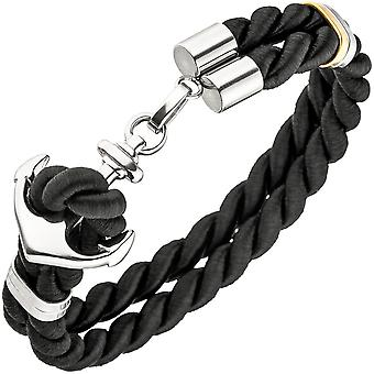 Bracelet 2 rows of nylon cord black with stainless steel anchor
