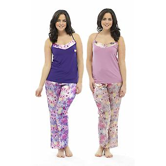 2 Pack Ladies Wolf & Harte Satin Floral Print Strappy Top Summer Pyjama