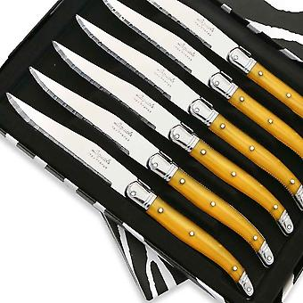 Set of 6 Laguiole steak knives ABS yellow Direct from France