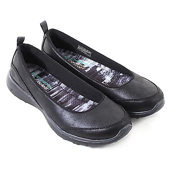 Skechers Women's Microburst Lightness Microleather Fabric Flat Black