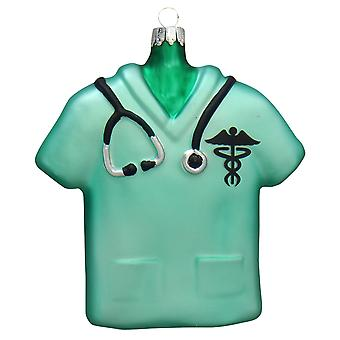 Christmas By Krebs Nurse Green Scrub Top Holiday Ornament Glass