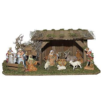 Crib Nativity scene wood Nativity stable Philip hand work for characters up to 12 cm