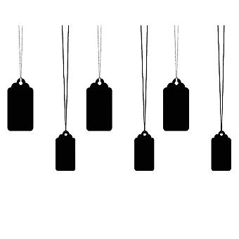 Black Card Tag & Twine Set for Gift Wrapping - 6 Tags | Christmas Gift Wrap