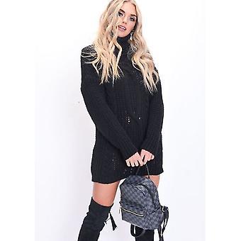 Kabel stricken Roll Neck Pullover Kleid schwarz