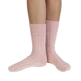Sarah women's extra warm Alpaca bed socks in pink | English made by J Alex Swift