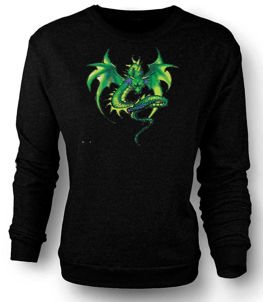 Mens Sweatshirt Green Dragon Comic Design