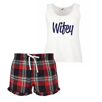 Wifey Ladies Tartan Frill Short Pyjama Set Red Blue or Green Blue