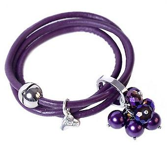 Kleshna Purple Rhinestone & Simulated Pearl Charm Leather Adjustable Bracelet