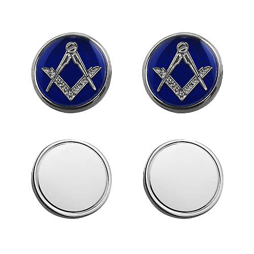 Silver 17mm round cold cure enamel Masonic chain Cufflinks