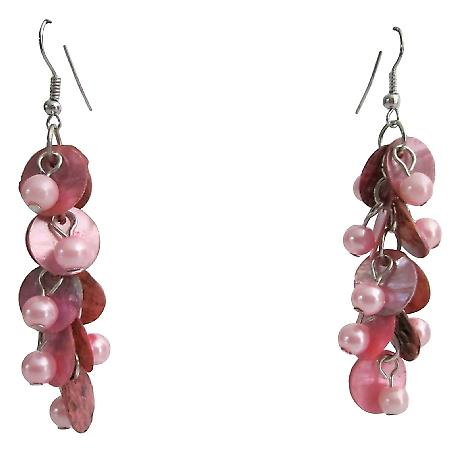 Pink Shell Drop Earrings Fashion Pink Shell Cluster Party Earrings