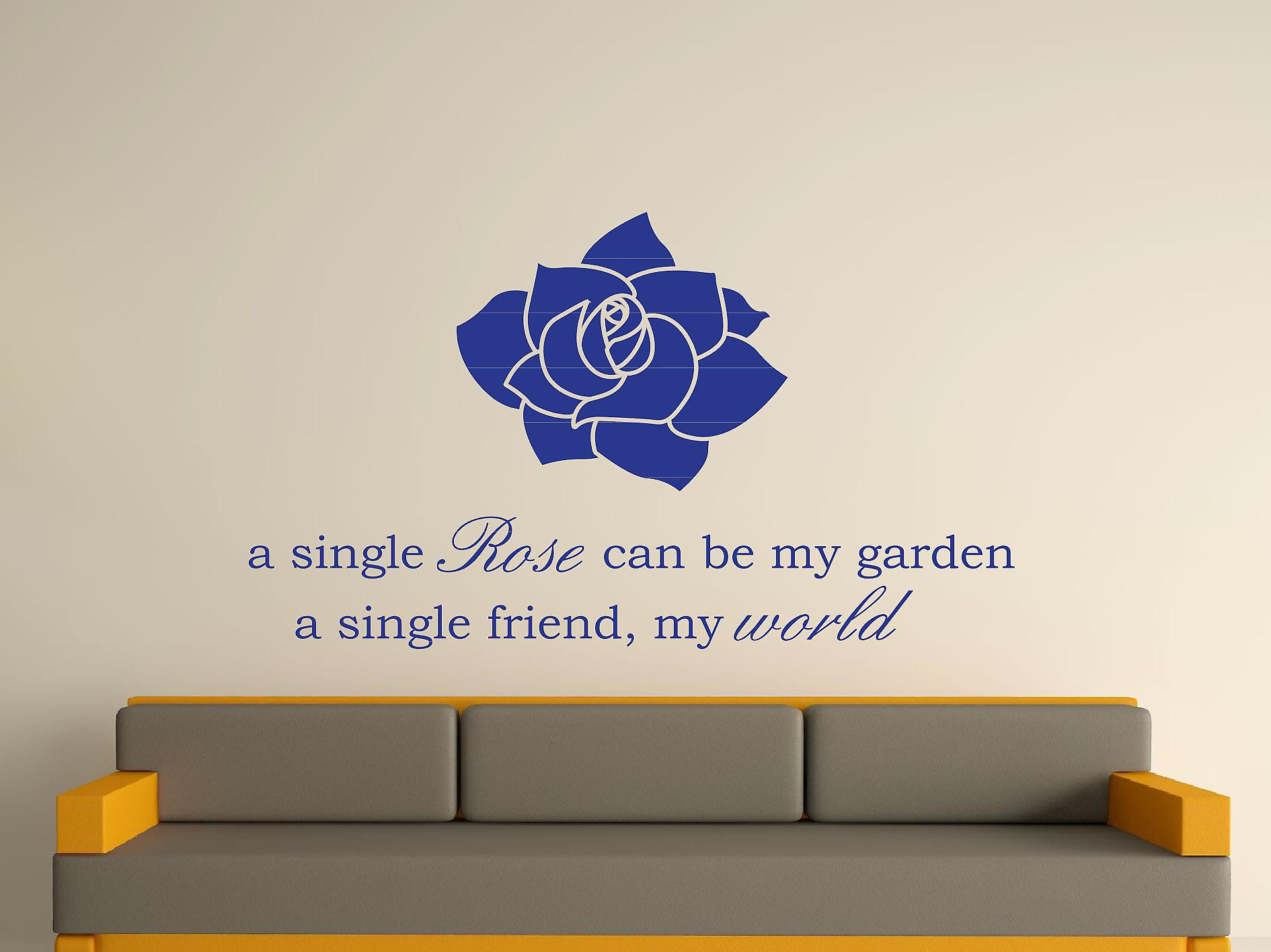 A Single Rose Wall Art Sticker - Dark Blue