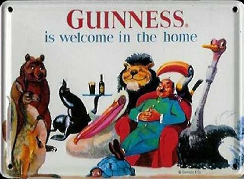 Guinness Welcome In The Home (Animals) metal postcard / mini sign    (hi)