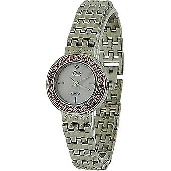 Limit Ladies Stone Set Bezel Pink Mother O Pearl Dial Silver Bracelet Watch 6796