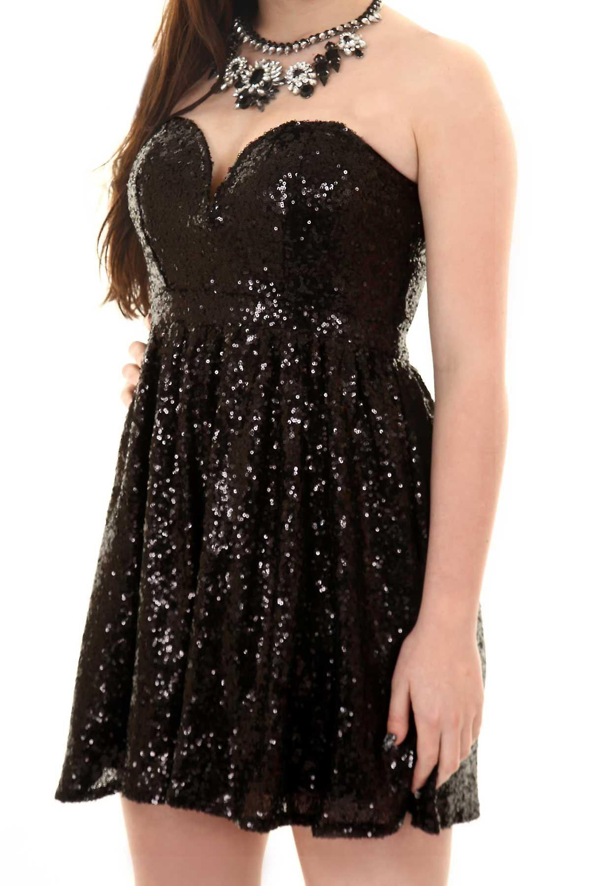 Ladies Sweetheart Neck Bustier Women's Sequin Skater Short Party Cocktail Dress