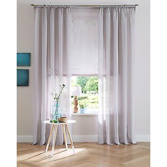 Ma maison uni simple rideau Voile gris semi transparent oeillets (2 pièces)